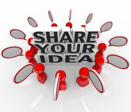 vorschlag: Eine Gruppe von Menschen in einem Ring zu diskutieren Lösungen für ein Problem rund um den Worten Sagen Sie Ihre Idee Lizenzfreie Bilder