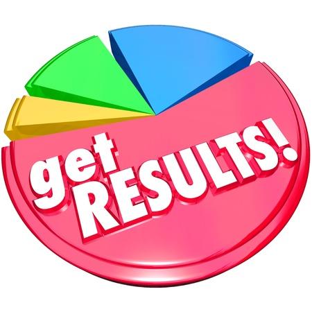 determining: Las palabras Ver resultados en un gr�fico de sectores con crecimiento pedazos o rodajas para ilustrar mejorar o aumentar la cuota o logrados misi�n Foto de archivo