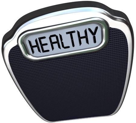 good health: Het woord gezond op een schaal om te illustreren zijn in goede gezondheid en vorm door middel van dieet en lichaamsbeweging om gewicht en lichaamsvet te verliezen
