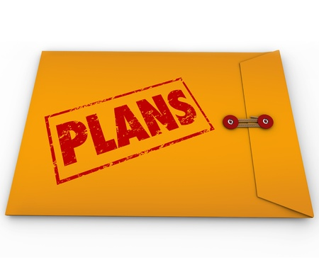 secret information: The word Plans on a yellow confidential envelope containing hidden contents for a successful strategy or covert operations for achieving a goal or mission Stock Photo