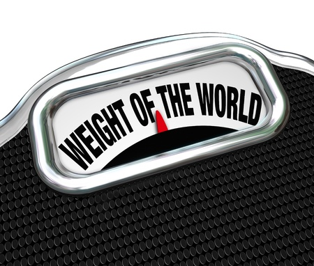 The words Weight of the World on a scale to illustrate trouble, burden, problem, danger on the shoulders of one responsible person Stock Photo - 19587213