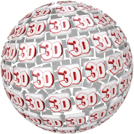 special effects: The word 3D on tiles in a round three dimensional sphere to illustrate special effects in a move, television program or game Stock Photo