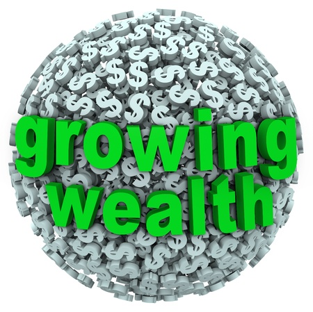 multiplying: The words Growing Wealth on a ball made of dollar signs or currency to illustrate accumulating riches through income, investment or other ways of earning money Stock Photo