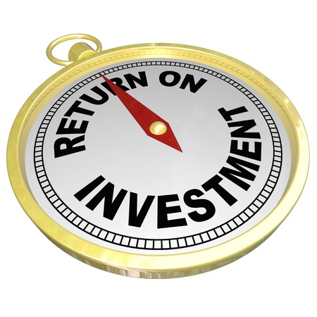 money matters: A gold compass with red needle pointing to words Return on Investment to illustrate ROI, investing in stocks, bonds, real estate or other money matters to grow wealth