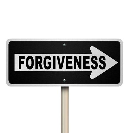 délivrance: Le mot pardon sur une route à sens unique signe pour symboliser être désolé, présenter des excuses et de chercher quelqu'un vous pardonnant et en offrant rachat ou absolution