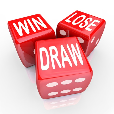 randomness: Win, Lose and Draw words on three red dice rolling in a game or competition to illustrate uncertainty, randomness and being evenly matched
