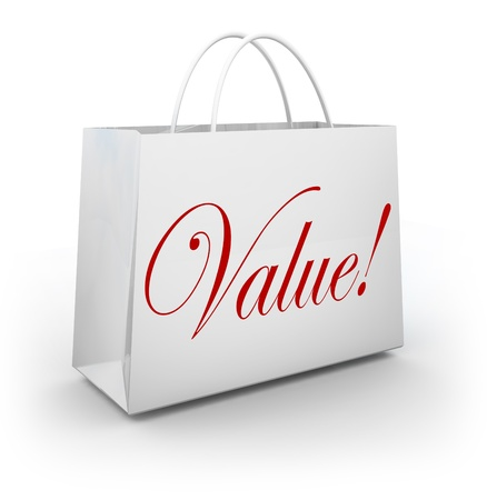 reduced value: The word Value on a shopping bag to illustrate special savings or getting your moneys worth on goods or merchandise at a store sale