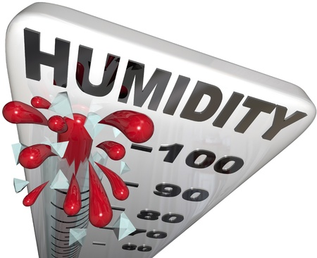 humid: The rising humidity rate level rising on a thermometer past 100 percent to tell you of danger or uncomfortable weather conditions in the hot summer heat