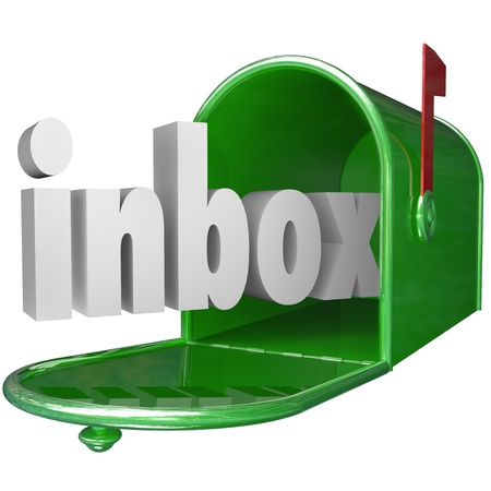 metal mailbox: The word inbox in a green metal mailbox to illustrate incoming messages Stock Photo