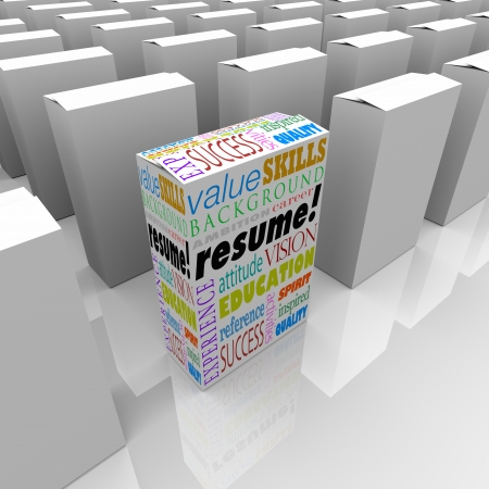 hired: The word Resume and job or interview related terms such as skills, education, background, experience, ambition, career and reference to help you get hired for a position