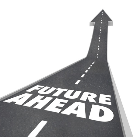 The words Future Ahead on a blacktop road with arrow leading up to illustrate new opportunities tomorrow photo