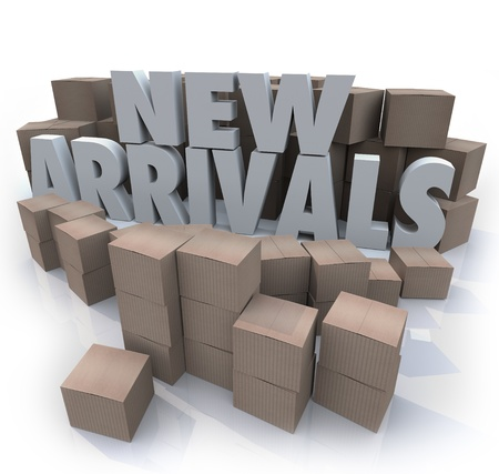 arriving: Many cardboard boxes with the words New Arrivals to illustrate products, merchandise or other items for sale arriving at a store or online seller
