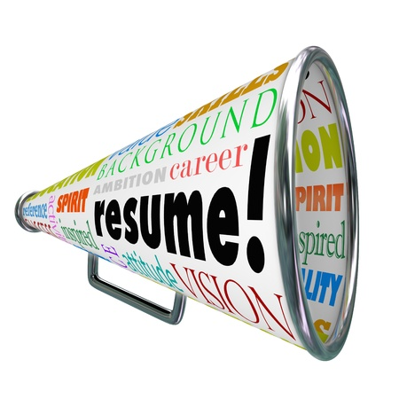 The word Resume on a bullhorn or megaphone to sell or communicate your skills, background, experience and education for getting hired for a job in an interview with an employer photo