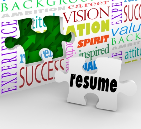 hired: A puzzle piece with the word Resume filling an opening in a wall to illustrate interviewing and getting hired for a job Stock Photo