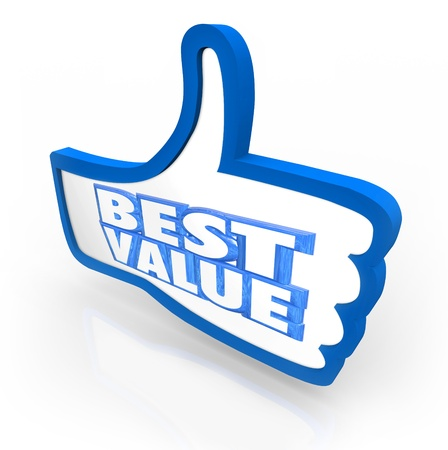 replies: The words Best Value in a thumbs up symbol to illustrate the top score, rating or quality review for a product or service in comparison with other competing products Stock Photo