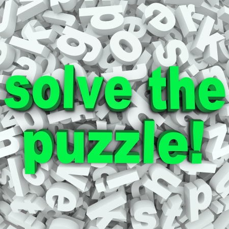 The words Solve the Puzzle in a background of jumbled letters to illustrate a difficult challenge, word search or other game Stock Photo - 19912258