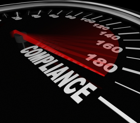 compliance: Compliance Word Speedometer tracking your progress toward rules, regulations, standards, policies and guidelines Stock Photo