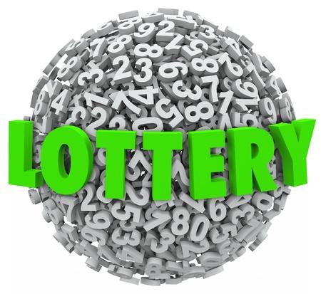 loteria: La palabra Lotería en letras verdes sobre una esfera de números para ilustrar los juegos de azar en un sorteo o cualquier otro juego de apuestas para ganar dinero