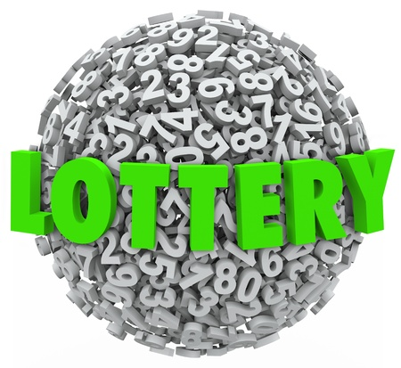 raffle: The word Lottery in green letters on a sphere of numbers to illustrate gambling on a raffle or other betting game to win money