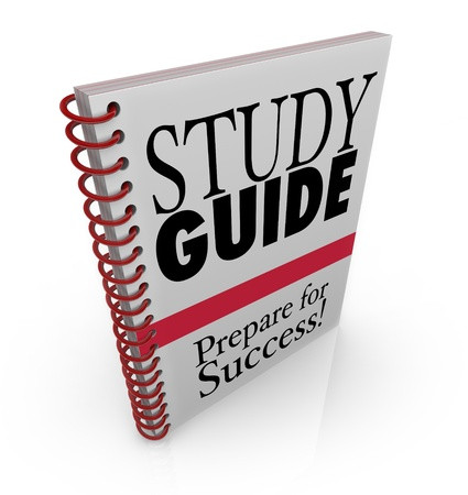 pass test: A study guide book cover for preparing for success on an exam for a class