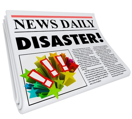 newspaper headline: The word Disaster on a newspaper headline to alert or update you on important information on a problem, crisis or emergency