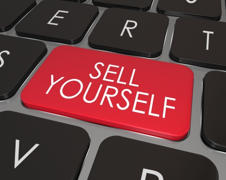 sell: A red key on a modern computer laptop keyboard with words Sell Yourself giving advice on how to promote or advertise your abilities, skills and qualifications for a job or career Stock Photo