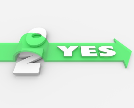 affirmed: The word Yes on a green arrow over the word No to illustrate approval or agreement in the face of rejection or disagreement, and the competitive advantage of a positive attitude