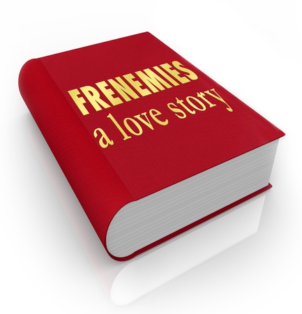 intrigue: The title Frenemies A Love Story on a red 3d book cover illustrating a story between friends who have become enemies through deceit and betrayal