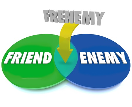 The word Frenemy defined by a venn diagram of intersecting circles between Friend and Enemy photo