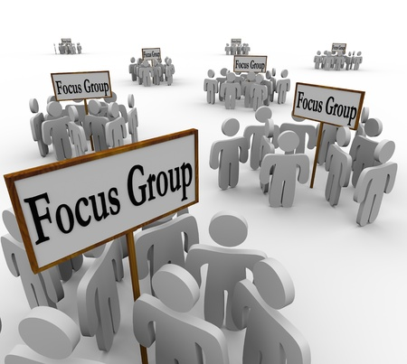 communicating: Many groups of customers representing several distinct demographics gathered in meetings around signs reading Focus Group