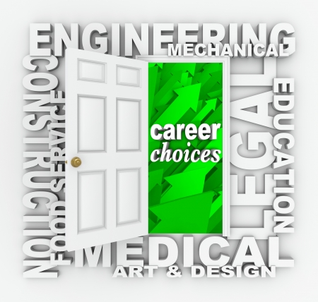 deciding: A word door illustrating career and job opportunities such as engineering, construction, medical, design, legal, education and more