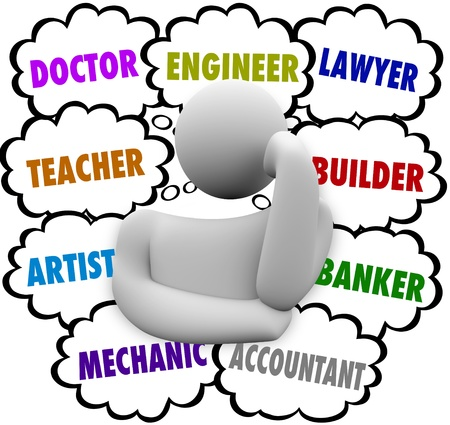 education choice: A thinker surrounded by thought clouds full of job ideas such as teacher, lawyer, mechanic, accountant, artist, doctor, builder, banker and engineer Stock Photo