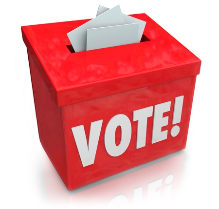 elections: The word Vote on a red ballot box for collecting votes and ballots in a democratic election to choose a new president, governor, representative, senator, congressman or other official or