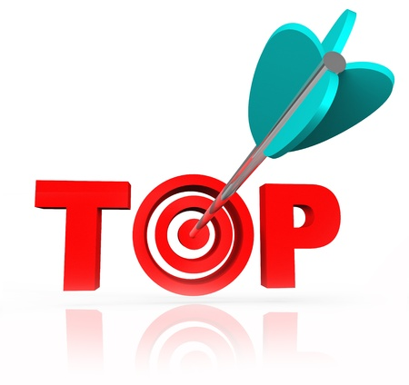 The concept of aiming or shooting to be winner or the best is illustrated by this picture of the word Top with an arrow in a bull's eye within the letters Stock Photo - 20163247