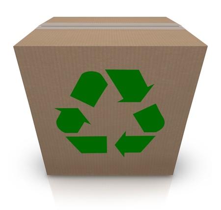 reciclable: El sello de símbolo de reciclaje verde en una caja de cartón para ilustrar envío del medio ambiente y la tierra amigable de los paquetes en un negocio
