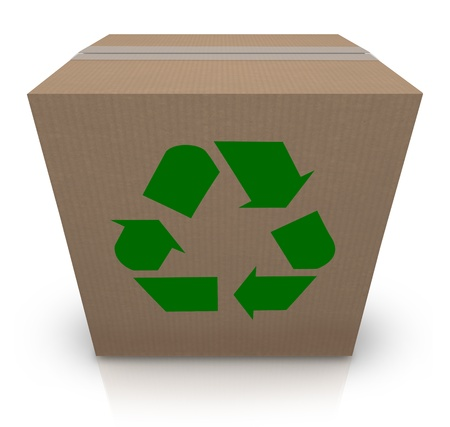 The green recycle symbol stamp on a cardboard box to illustrate environmentally and earth friendly shipping of packages in a business photo