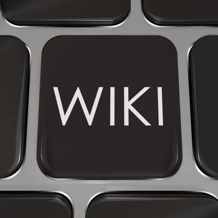 crowdsource: The word Wiki on a computer keyboard to illustrate a website or internet page where users can edit or write entries of information on subjects they have expertise in