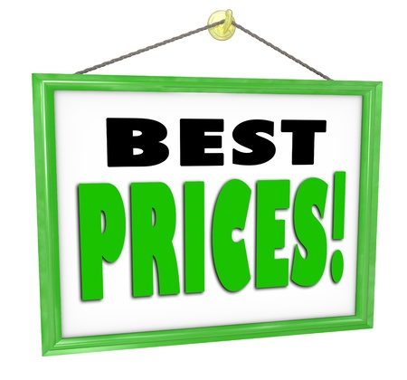 cheapest: The words Best Prices on a sign hanging in a store window advdertising lowest cheapest costs around for goods and merchandise in comparison to other merchants Stock Photo