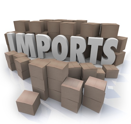 importer: The word Imports in a warehouse of cardboard boxes full of shipping products from other countries that a seller would sell to customers