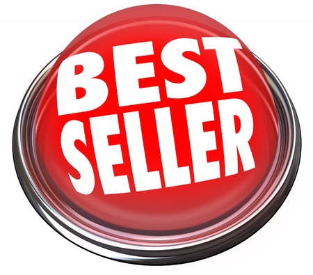 bestseller: A round red button in metal and light reading Best Seller to advertise the popularity and high rank of a product or merchandise at a store sale Stock Photo