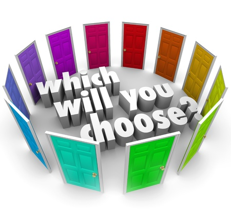 The question Which Will You Choose? surrounded by many different doors leading to opportunities in life, business, career or relationships Imagens