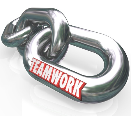 The word Teamwork on connected chain links to illustrate partnership, merger, working together toward a common goal or mission