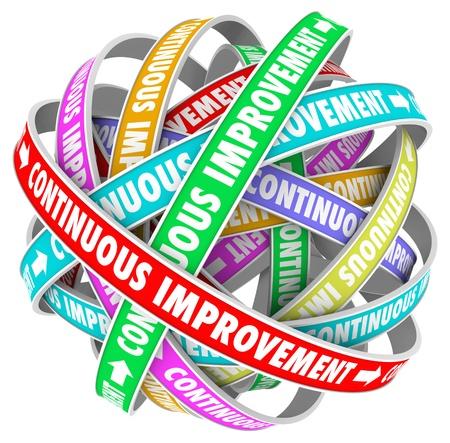 evoluer: Les mots am�lioration continue sur des rubans circulaires dans un mod�le �ternel pour illustrer le changement �ternel et l'innovation pour mieux vous-m�me, entreprise ou organisation