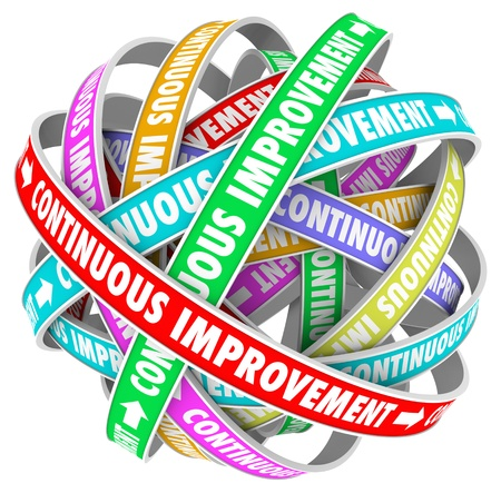 augmentation: The words Continuous Improvement on circular ribbons in an everlasting pattern to illustrate everlasting change and innovation to better yourself, company or organization Stock Photo
