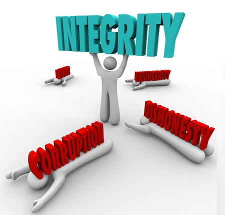 insincerity: A man lifts the word Integrity as a competitive advantage in a battle against others with words Corruption, Dishonor, Dishonesty, and Insincerity crushing them Stock Photo