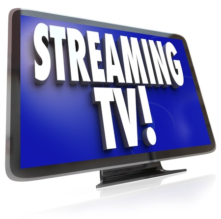 downloading content: The words Streaming TV on an HDTV television set to illustrate downloading or pirating of programming from a network or broadcat channel through your computer to your monitor