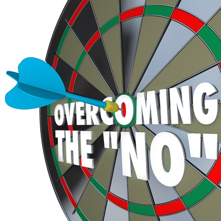 persuade: The words Overcoming the No on a dartboard with one dart hitting the center bulls-eye to win the game or debate and persuade the other party to agree to your terms
