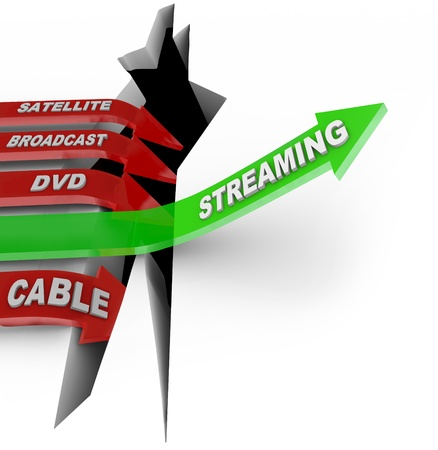 cable tv: Streaming television content is the way of the future illustrated by this picture of one arrow representing TV downloads or torrents vs satellite, broadcast, DVD and Cable viewing
