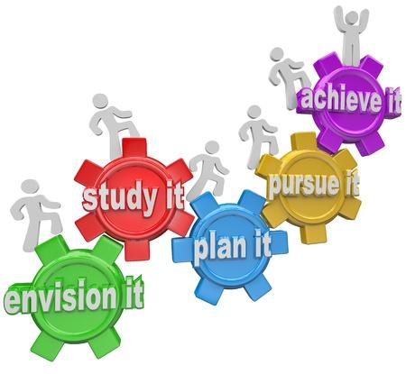 doelen: De woorden Envision het, Bestudeer het, plan het, Streven naar het, en bereiken het binnen tandwielen en mensen ze klimmen naar een doel of missie te volbrengen