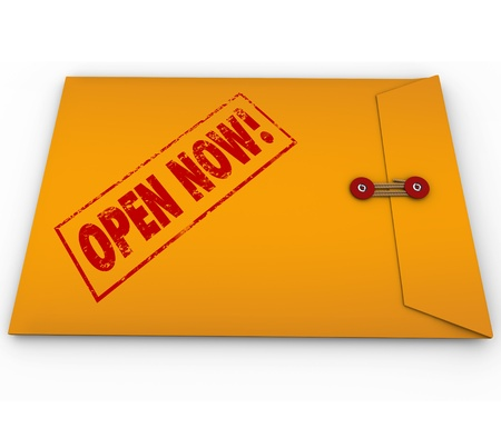 A yellow envelope with a red stamp with the words Open Now to illustrate an important, critical, crucial, vital, emergency or urgent message, letter or other communication Stock Photo - 20322264